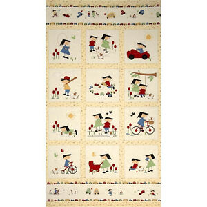 Vintage play cotton quilt panel children fabric bikes red for Children s fabric panels