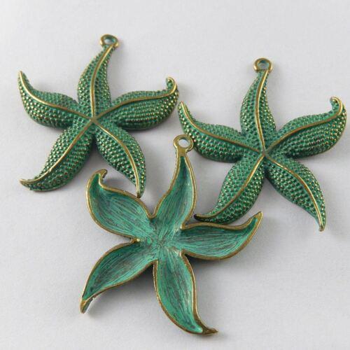 Verde 10 un de aleación de bronce en forma de estrella Peces Colgantes Adornos Joyería haciendo 52014