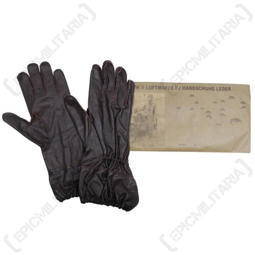 WW2 Repro Luftwaffe Driving Winter German Fallschirmjager Brown Leather Gloves