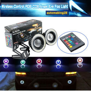 2x 3.5 Inch RGB Multi-Color LED Projector Fog Light w/ COB Angel Eyes Halo Rings
