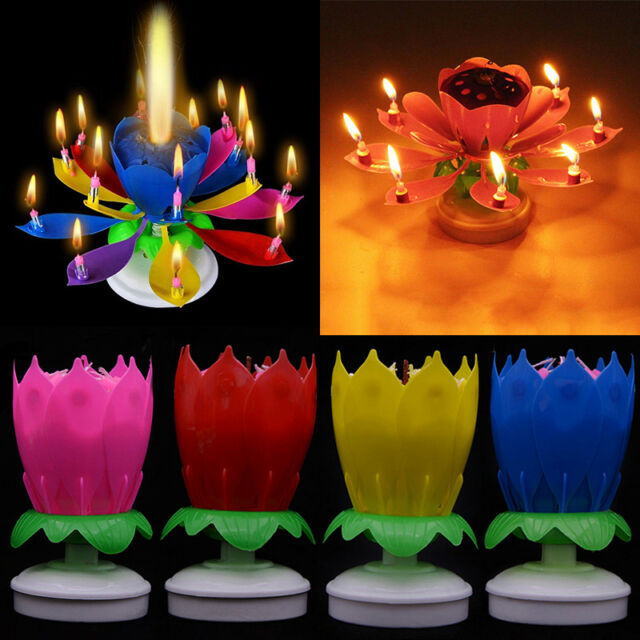 1PC Lotus Candle Creative Rotating Cake Topper Decoration Musical Happy Birthday