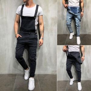 Men-039-s-Distressed-Denim-Carpenter-Overalls-Bib-Jumpsuits-Moto-Biker-Jean-Pants