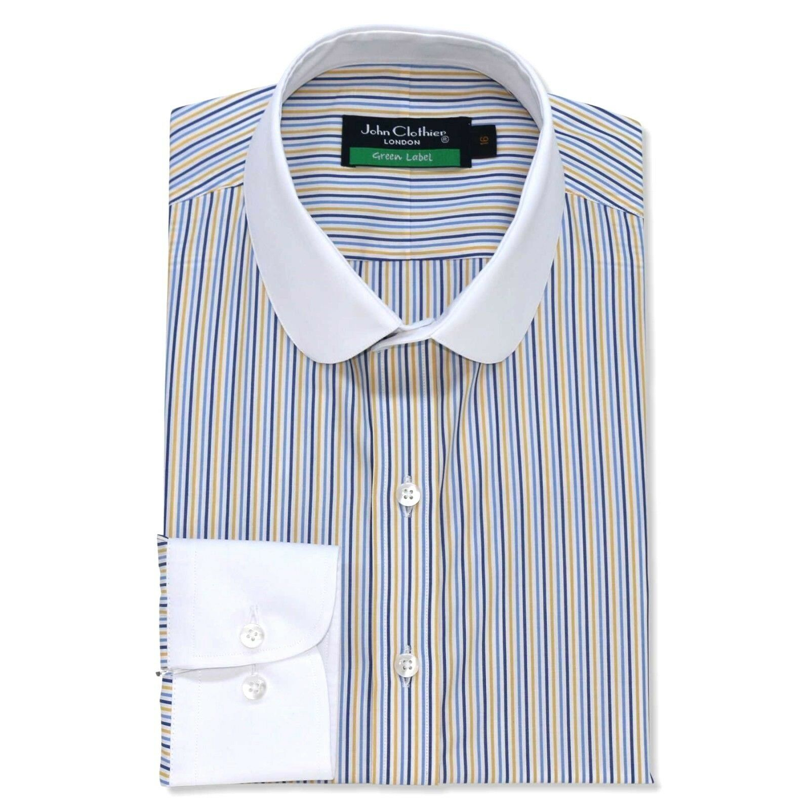 Peaky Blinders Mens shirts Penny collar bluee Yellow stripes Grandad Round Club