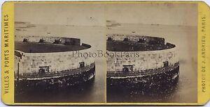 Francia Una Batterie Da Testa Del Molo A Cherbourg Foto - Vintage Albumina Ca