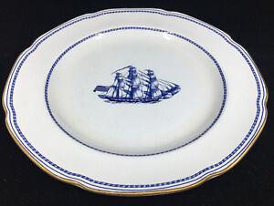 1 Assiette Spode Trade Winds Vaisseau Grand Turk Bleu W146 96556 Angleterre Art De La Broderie Traditionnelle Exquise