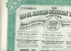 Rio-de-Janeiro-Suburban-Tramways-Ltd-1911-LB-20-Debenture-nice-big-VF