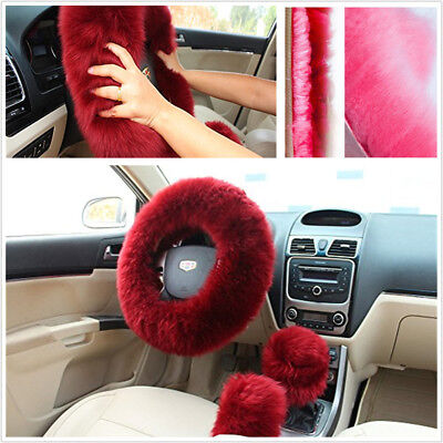 3Pcs Set Furry Fluffy Natural Fur Car Steering Wheel Cover Wool Winter Essential