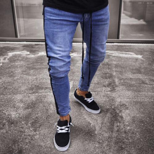 Stretch Denim Pants Distressed Ripped Freyed Slim Fit Zipper Jeans Trousers Men
