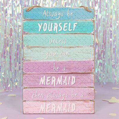 Mermaid ombre en Bois Mural Signe Chambre À Coucher Décoration Plaque