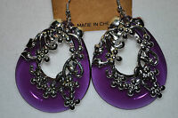 Stunning Teardrop Acrylic dangle earrings with silver tone flower accents new