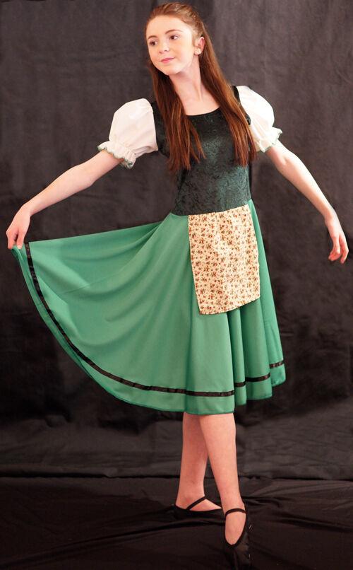 Dorfbewohner   Klang der der der Music   Chor   Solo grün Tanzkleid & Pinny jedes Alter 4a5ed5
