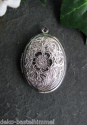 1 Medaillion mit Blumenmuster, Oval, 3,3cm, in silber, Anhänger, Schmuck basteln