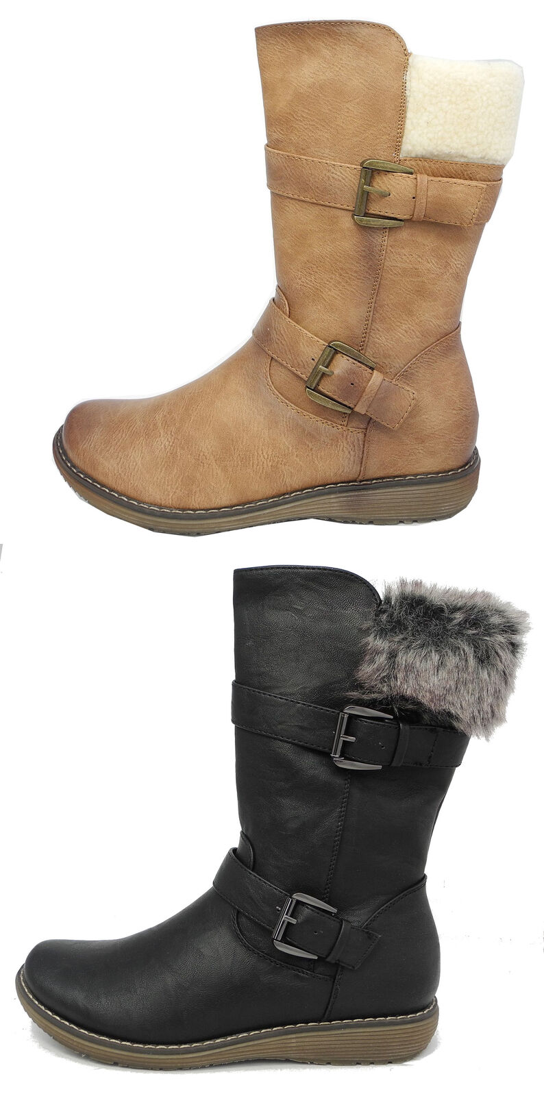 Womens Cats Eyes Leather Look Mid Calf Winter Boots Black Black Black Brown Size 3 4 5 6 7 8 f90db0
