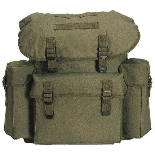 Mil-Tec German Army Military Cotton Canvas Rucksack Backpack Bag 25L Olive Green