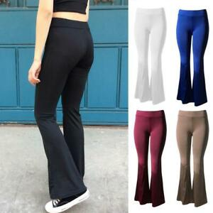 Women-Solid-High-Waist-Flare-Wide-Leg-Chic-Trousers-Bell-Bottom-Yoga-Pants-Top