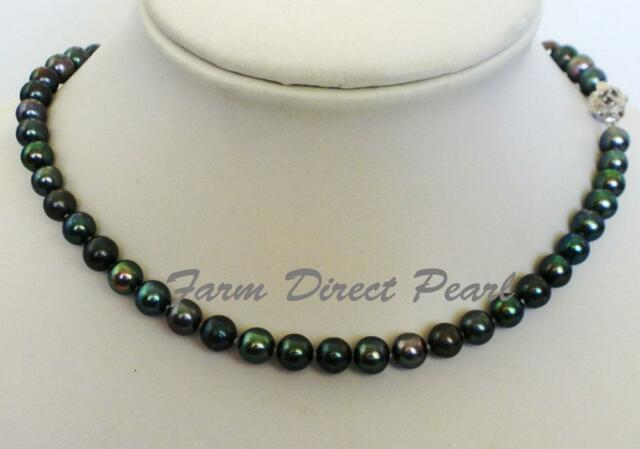 """16"""" Inch Genuine Cultured Freshwater 7-8mm Peacock Black Pearl Necklace Choker"""