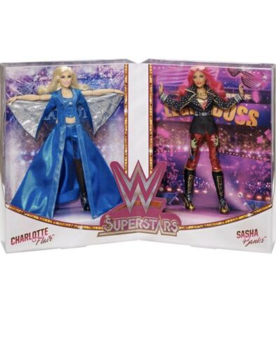Mattel WWE Superstar Wrestling Dolls NIB Banks And Flair 2 Pack COLLECTIBLE