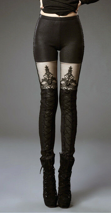 Pantalon leggings leggings leggings gothique lolita baroque dentelle cuir molletoné hiver PunkRave a315a3