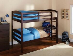 Twin Size Bunk Bed Espresso Convertible Space Saving Solid