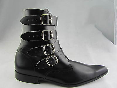 Mens Black Leather 4 Strap Zip Retro Boot Beatle Beat Boots Cuban Heel Winkle