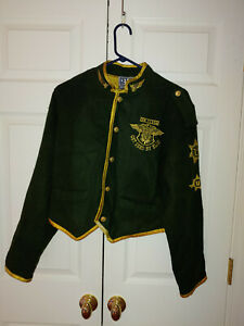 Women Vtg GET USED BY ELIE Army Green Gold Military Style Jacket Size L