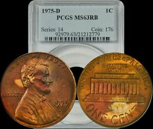 1975-D U S A  Penny PCGS MS63RB Deep Red Colored Coin | eBay