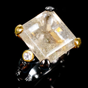 Handmade-Natural-Rutilated-Quartz-925-Sterling-Silver-Ring-Size-7-5-R112139