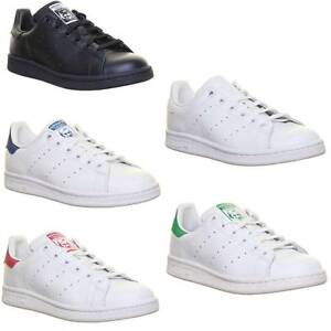 Adidas Stan Smith Junior Leather Black Lace Up Trainers UK Size 3 ... 3d4828391