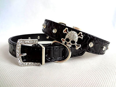 Rhinestone Crystal Skull Dog Cat Puppy Collar PU Leather Diamante Pet Collar
