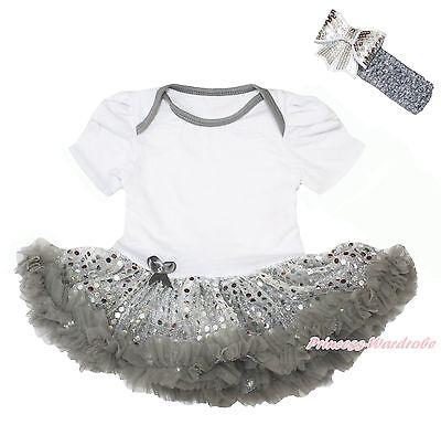 Plain Style White Bodysuit Bling Sparkle Gray Sequins Skirt Baby Dress NB-18M