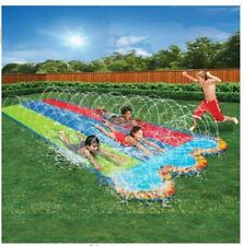 Banzai Triple Racer Water Slide 16 Foot Long 82 Inches Wide Splash Pools at End