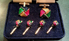 Vintage HAYWARD Enamel CUFFLINKS & Button STUDS SET