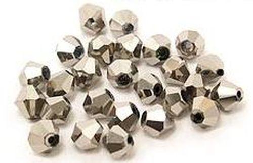 25 Bicone Glasschliffperlen ca 6mm #37 silberfarben