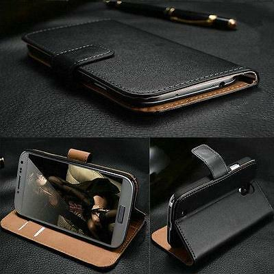 Genuine Real Leather Wallet stand case cover for Mobile Phones & Free Screen Pro