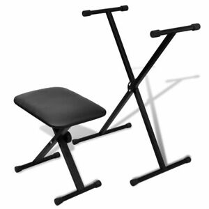 vidaXL-Keyboard-Stand-and-Stool-Set-Adjustable-Height-Piano-Bench-Padded-Seat