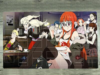 Persona 5 P5 Playmat Sakura Futaba TCG CCG Yugioh Gaming Play Mat /& Zones /& Bag