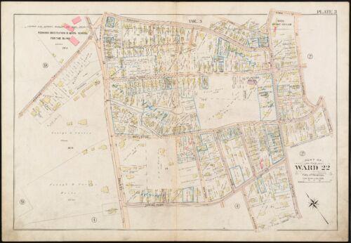 SCHOOL COPY ATLAS MAP MA 1896 W CHESTNUT AVE ROXBURY BOSTON JAMAICA PLAIN