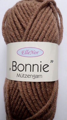Espesor de punto lana suaves mützenwolle Bonnie marrón claro fb.440 50g nuevo