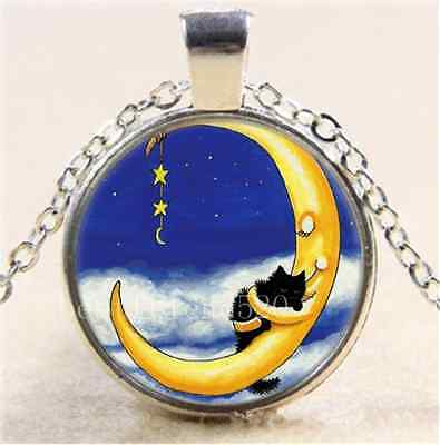 Sweetest of Dreams Photo Cabochon Glass Tibet Silver Chain Pendant Necklace