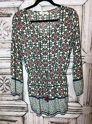 Umgee Women's Romper Boho Long Sleeve Spring Cotton Blend Size Small