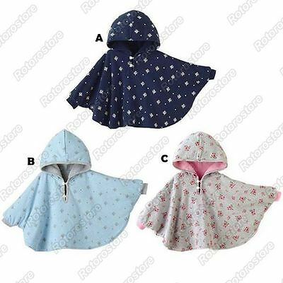 Reversible Baby Cape Coat - Cute Girls Toddlers Kids Hooded Jacket Poncho - New