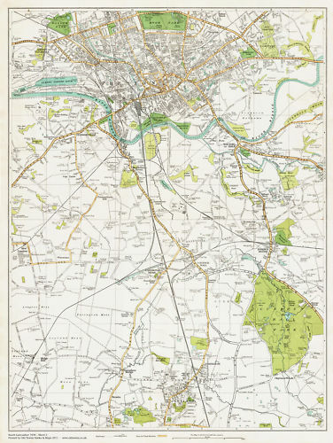 Preston /& Leyland area map Lancashire 1934 Sheet 3