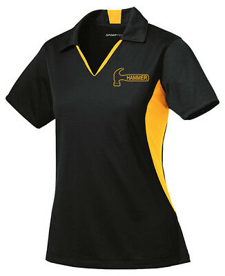 Hammer Women/'s Razyr Performance Polo Bowling Shirt Dri-Fit Black White