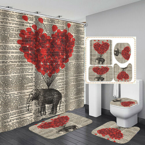 Valentine/'s Day Waterproof Bathroom Shower Curtain Toilet Cover Mat Rug  bc