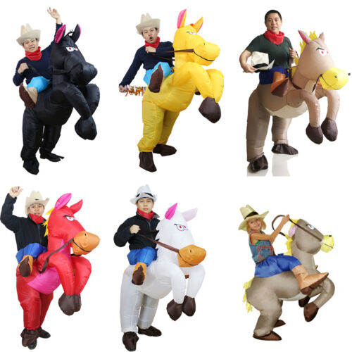 Inflatable Cowboy Costume Horse Riding Fancy Dress Adult Kid Party Cosplay Suit