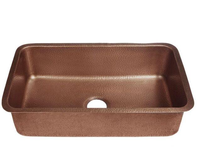 Single Basin Kitchen Sink 30 in. Undermount Handmade Solid Copper Antique  Copper