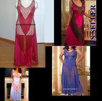 Plus Size Long Gown Insert Lace Panel S M 1x 2x 3x 4x Lingerie T6742