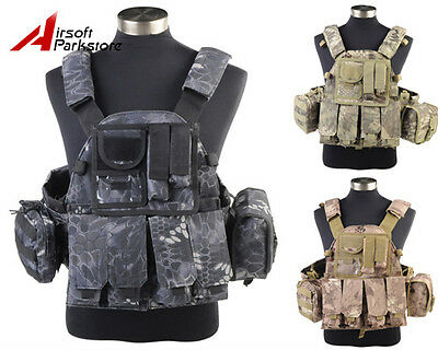 1000D US Army Navy Seals Airsoft Tactical Military Camo Molle Plate Carrier Vest