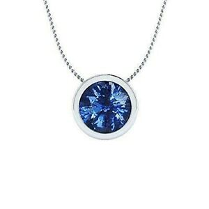 8mm Blue Sapphire Solitaire Bezel Pendant Necklace in Solid Sterling Silver