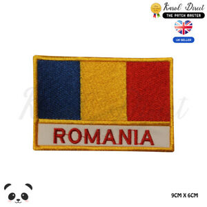 ROMANIA-National-Flag-With-Name-Embroidered-Iron-On-Sew-On-Patch-Badge